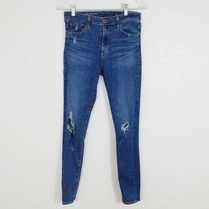 AG | Destroyed Farrah Skinny Ankle Jeans | 27R